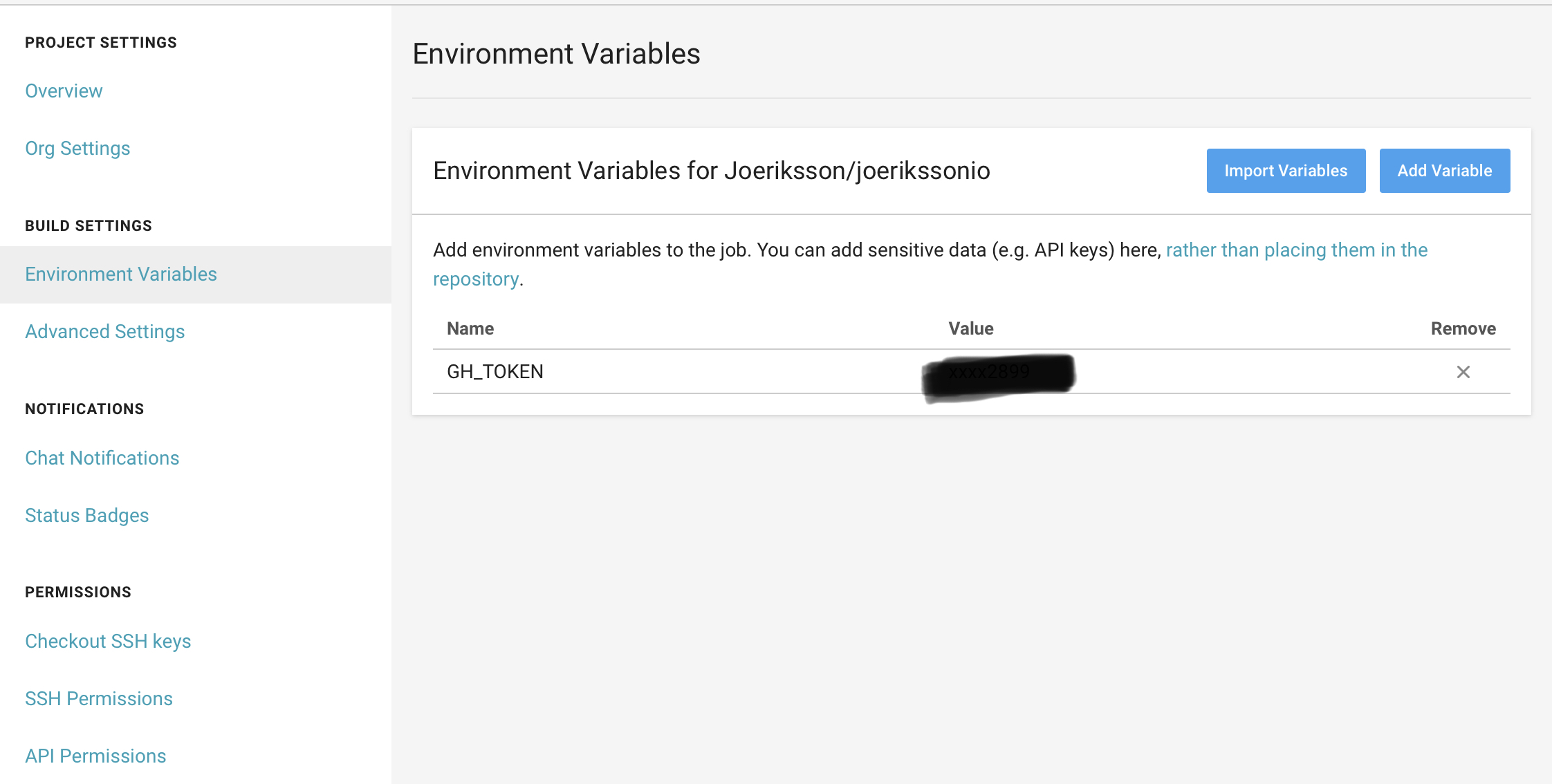 CircleCI Environment Variable