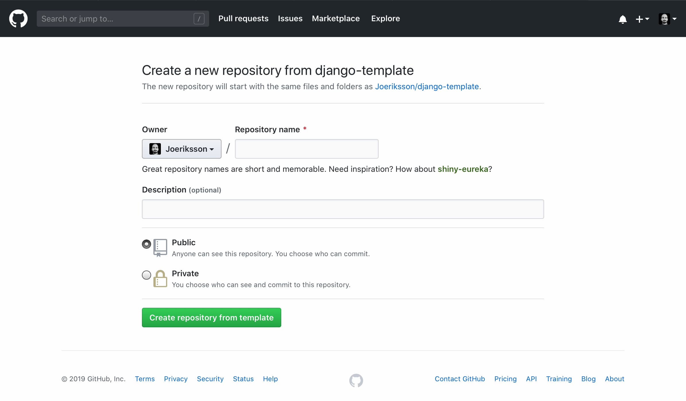 Django template create new repo image